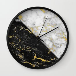 Black & White Gold Flecked Marble Wall Clock