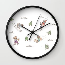 Cats & winter sports Wall Clock
