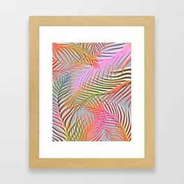 Palm Leaves Pattern - Pink, Gray, Orange Framed Art Print