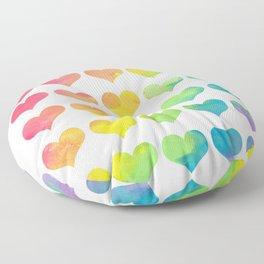 Rainbow Heart Gradient Pattern Floor Pillow