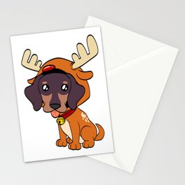 Dachshund  Christmas Dog T-shirt Design On Xmas Eve or Day Paw Paws Pet Breed Dogs Christmas Tree Stationery Cards