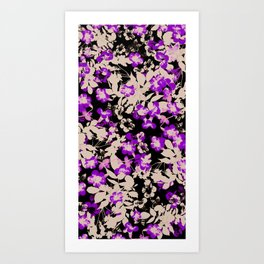 purple canary creeper flower with silhouette leaves on black Art Print