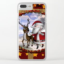 Santa Claus with reindeer Clear iPhone Case