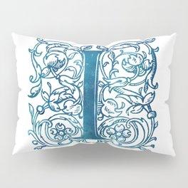 Letter I Antique Floral Letterpress Monogram Pillow Sham