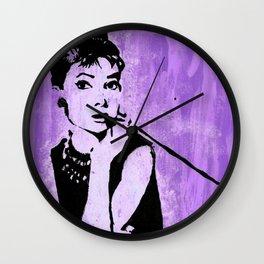 Audrey in Purple Wall Clock