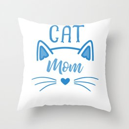 Cat Mom Heart Nose Ears and Whiskers wb Throw Pillow