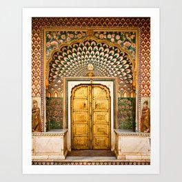 Lotus gate door in pink city at City Palace of Jaipur, India Art Print