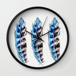 Three Blue Feathers Wall Clock