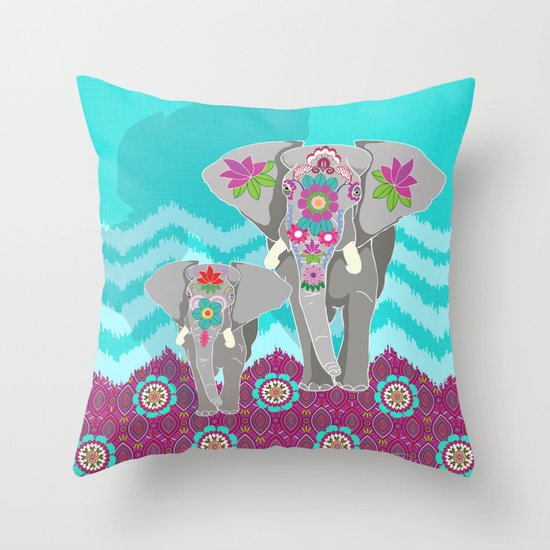 Elephant Festival Throw Pillow