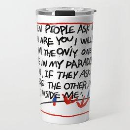Ugly hand writing by artist ozo Travel Mug