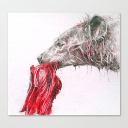Hyena with meat Canvas Print