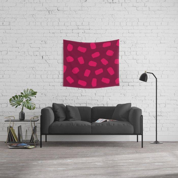 Raspberry Brushstrokes Wall Tapestry