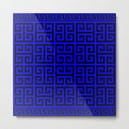 Greek Key (Blue & Black Pattern) Metal Print