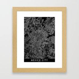 Mexico City Black Map Framed Art Print