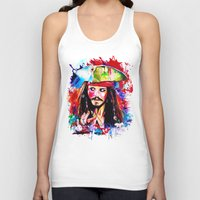 jack sparrow Tank Tops featuring Captain Jack Sparrow by isabelsalvadorvisualarts