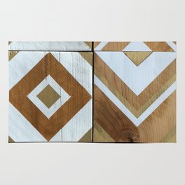 White Chevron Painting on Reclaimed Wood Rug