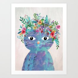 Flower cat II Art Print