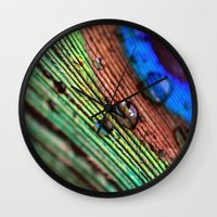 peacock feather Wall Clocks featuring peacock feather by Falko Follert Art-FF77