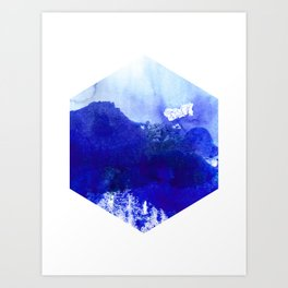 Blue and White Hexagon Abstract Watercolor Art Print