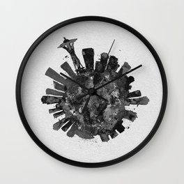 Seattle, Washington Black and White Skyround / Skyline Watercolor Painting Wall Clock