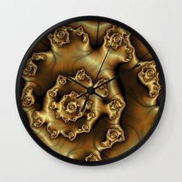 Golden Ginger Fractal Wall Clock