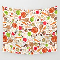 vegetables Wall Tapestries featuring Fruit and Vegetables  by Elena O'Neill