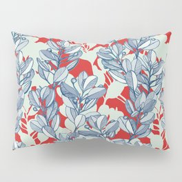 Leaf and Berry Sketch Pattern in Red and Blue Pillow Sham
