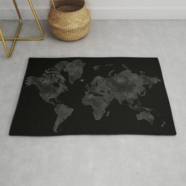 """Black and gray watercolor world map """"Coal mine"""" Rug"""