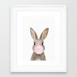 Bubble Gum Rabbit Framed Art Print