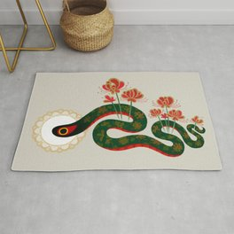 Snake and flowers Rug