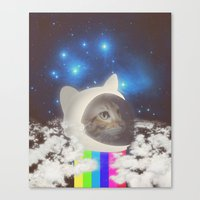 space cat Canvas Prints featuring Space Cat by omgcatz
