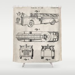 Fire Truck Patent - Aerial Fireman Truck Art - Antique Shower Curtain