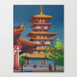 Japanese Woodblock Print Vintage Asian Art Colorful woodblock Prints Pagoda Shinto Shrine Canvas Print