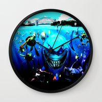 finding nemo Wall Clocks featuring nemo by Marwan Baghdadi