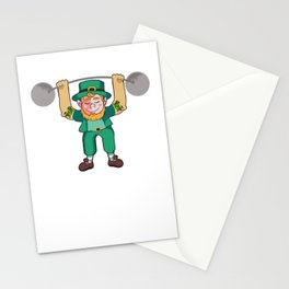 Leprechaun Lifting Weights for Irish folklore lovers Stationery Cards
