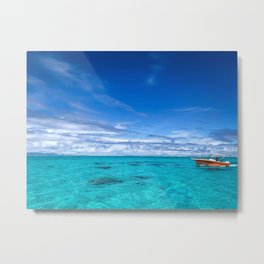 South Pacific Crystal Ocean Dreamscape with Boat Metal Print