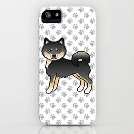 Black And Tan Alaskan Malamute Dog Cute Cartoon Illustration iPhone Case