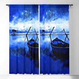 sunrise boat silence watercolor splatters cool blue Blackout Curtain