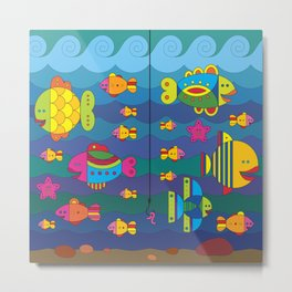 Concept with stylize fantasy fishes under water. Metal Print