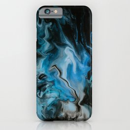 Blue Fire Abstract Marble Art iPhone Case