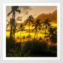 Hawaiian Gold and Tropical Tangerine Sunset Art Print