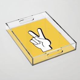Peace Sign yellow Acrylic Tray