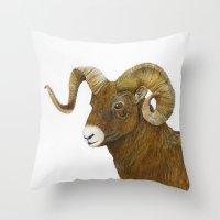 ram Throw Pillows featuring Ram by Jan Elizabeth