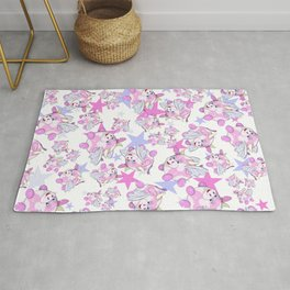 adorable pattern of pink flying bubble cow with wings Rug