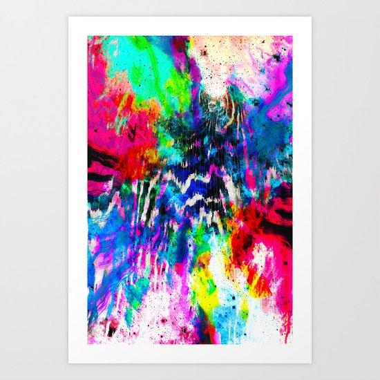 Technicolor Zebra Splatter Art Print