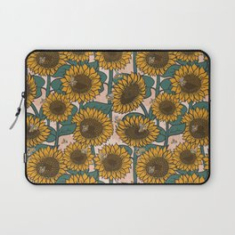 Sunflowers + Bees on Pink Laptop Sleeve
