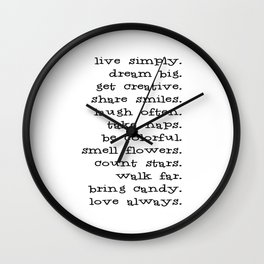 Live Simply Dream Big Typography Inspirational Phrase Wall Clock