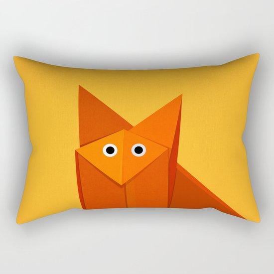 Geometric Cute Origami Fox Portrait Rectangular Pillow