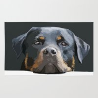 rottweiler Area & Throw Rugs featuring Rottweiler Portrait Vector by taiche