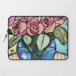 Roses in Blue vase collage Laptop Sleeve